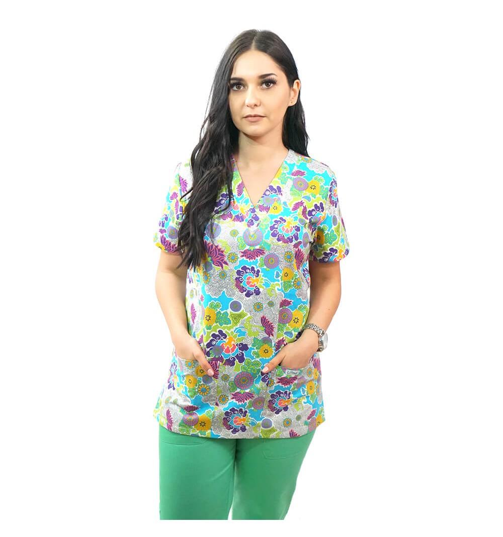 Bluza medicala imprimata Lotus 1, Mazy Flower