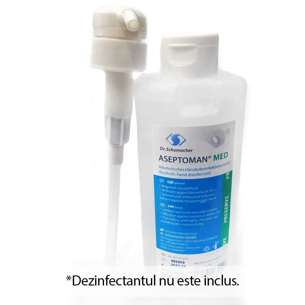 Pompa dozatoare pentru dezinfectant maini Aseptoman 500ml/1000ml