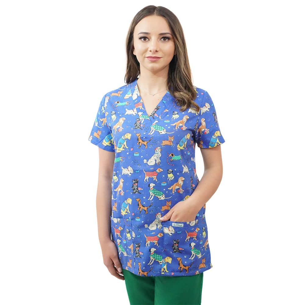 Bluza medicala imprimata Lotus 2, Puppies