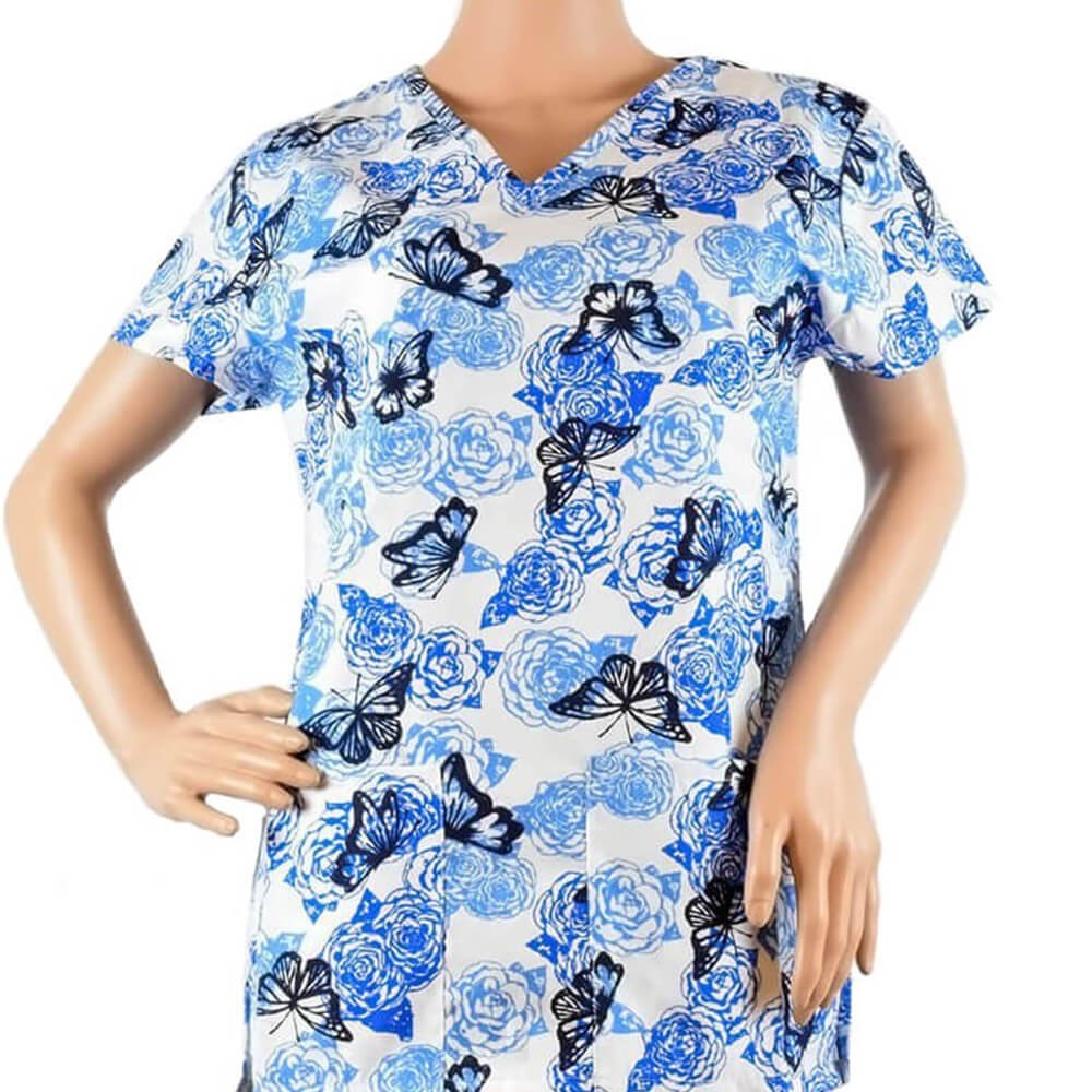 Bluza medicala imprimata Lotus 1, Rosses Butterfly