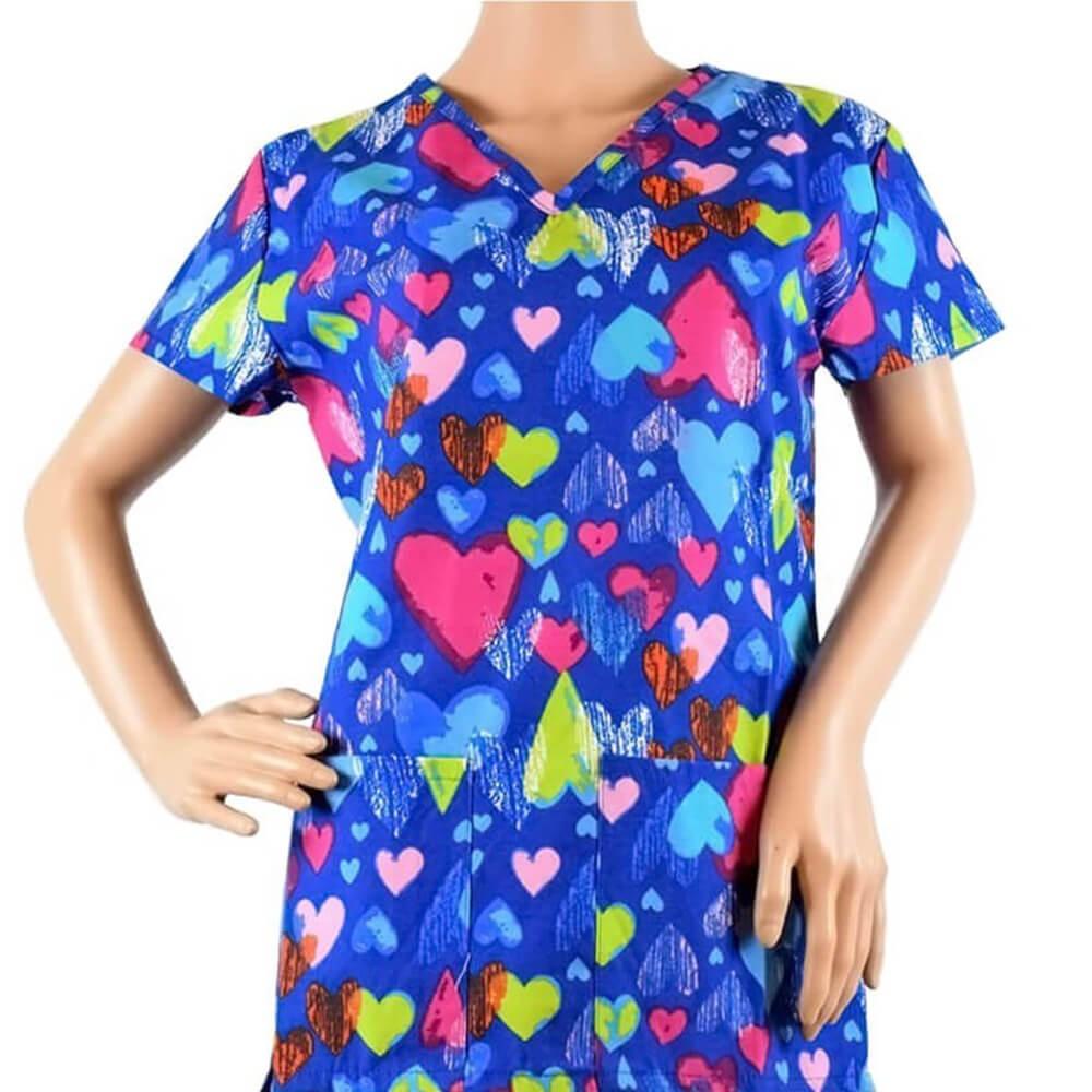 Bluza medicala imprimata Lotus 1, Multi Hearts Print