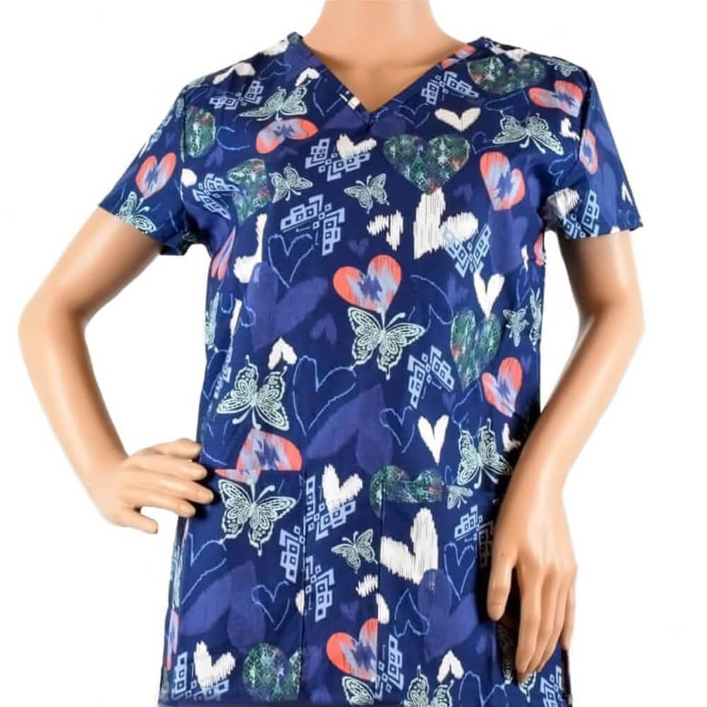 Bluza medicala imprimata Lotus 1, Navy Coral Butterfly