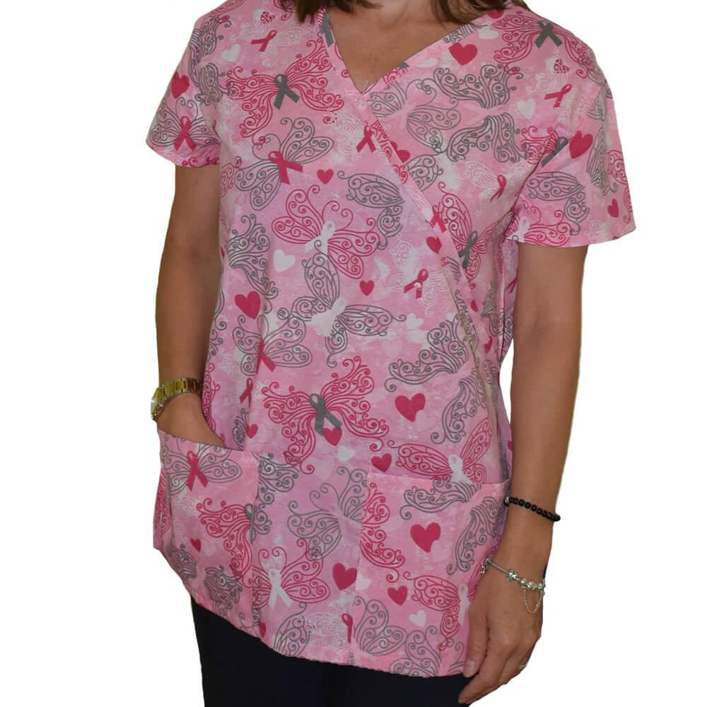 Bluza medicala imprimata Lotus 1, Pink Butterfly