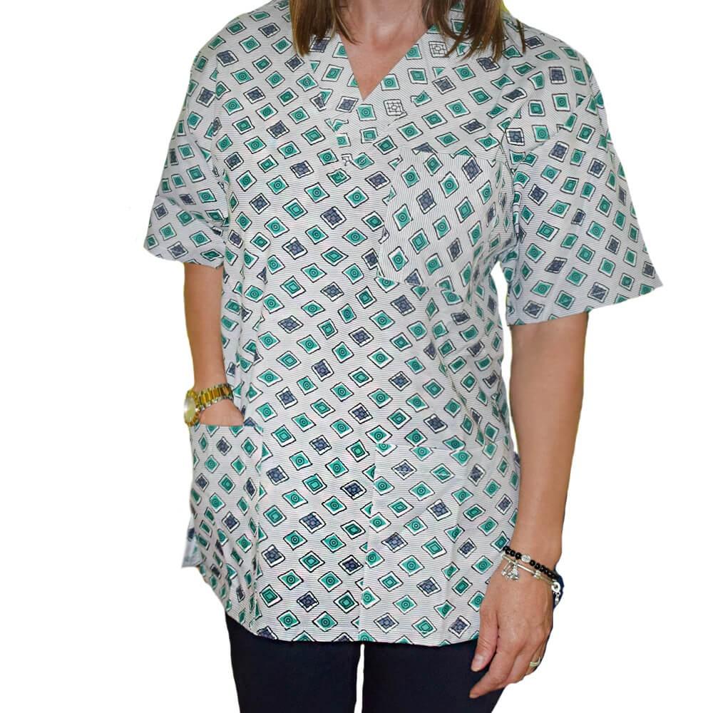Bluza medicala imprimata Lotus 1, Green Diamond