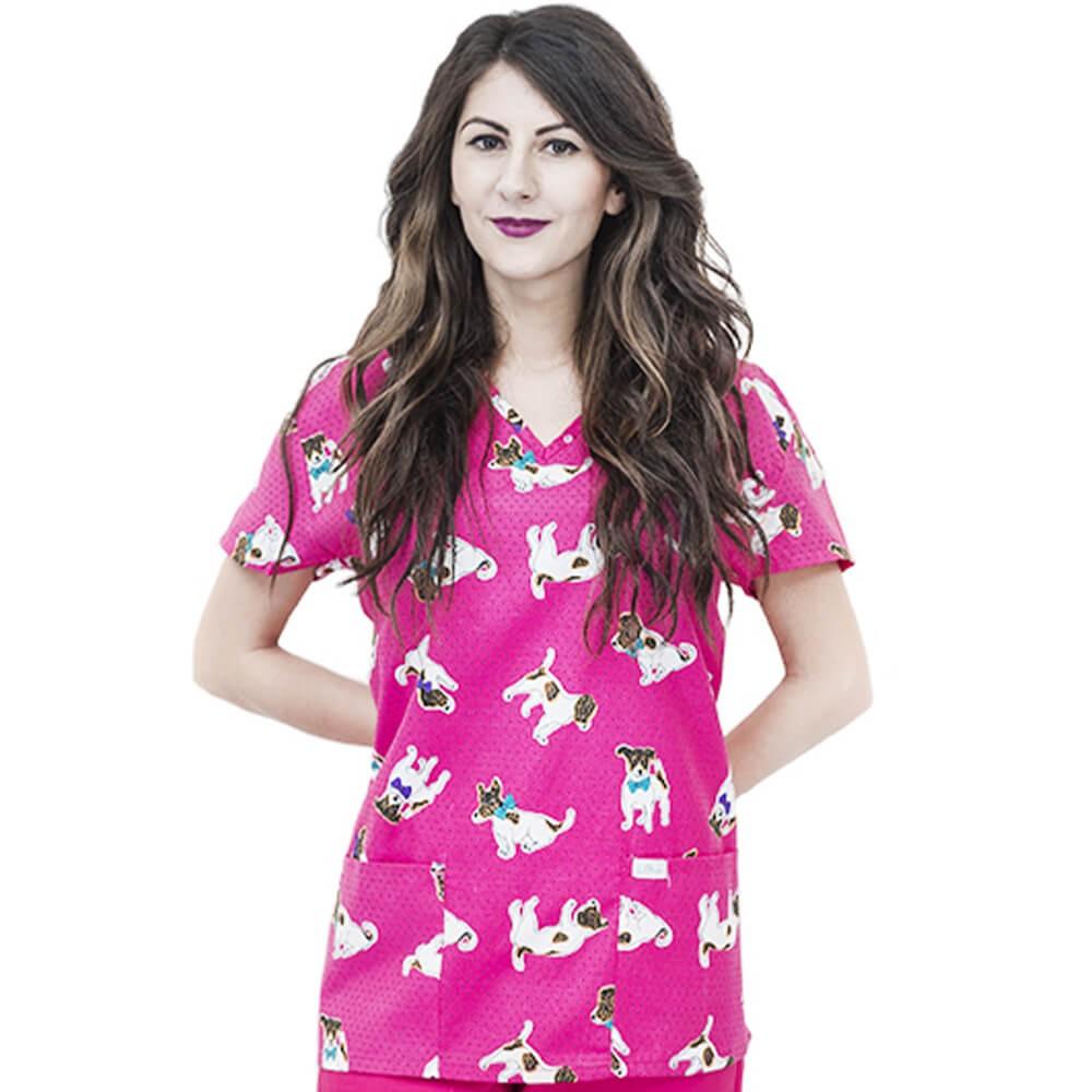 Bluza medicala imprimata Lotus 1, Polka Dot Dog
