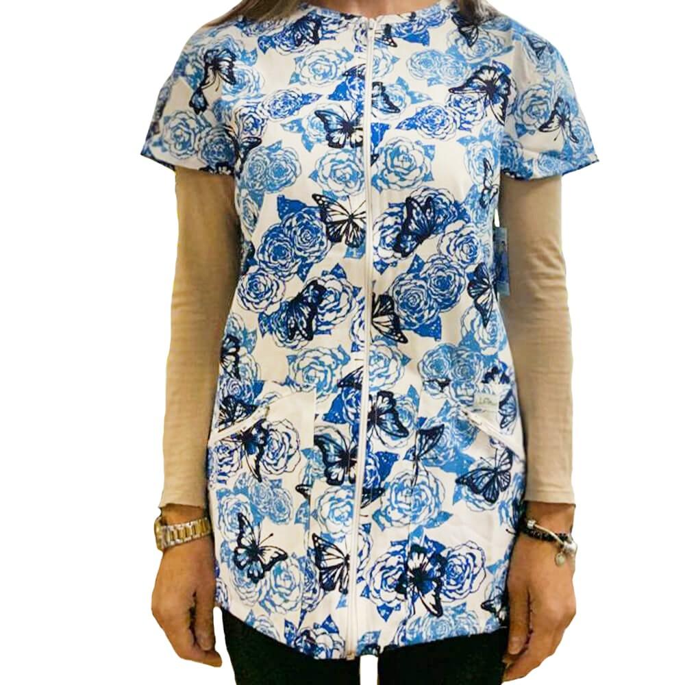 Bluza medicala imprimata, cu fermoar Lotus 1, Rosses Butterfly
