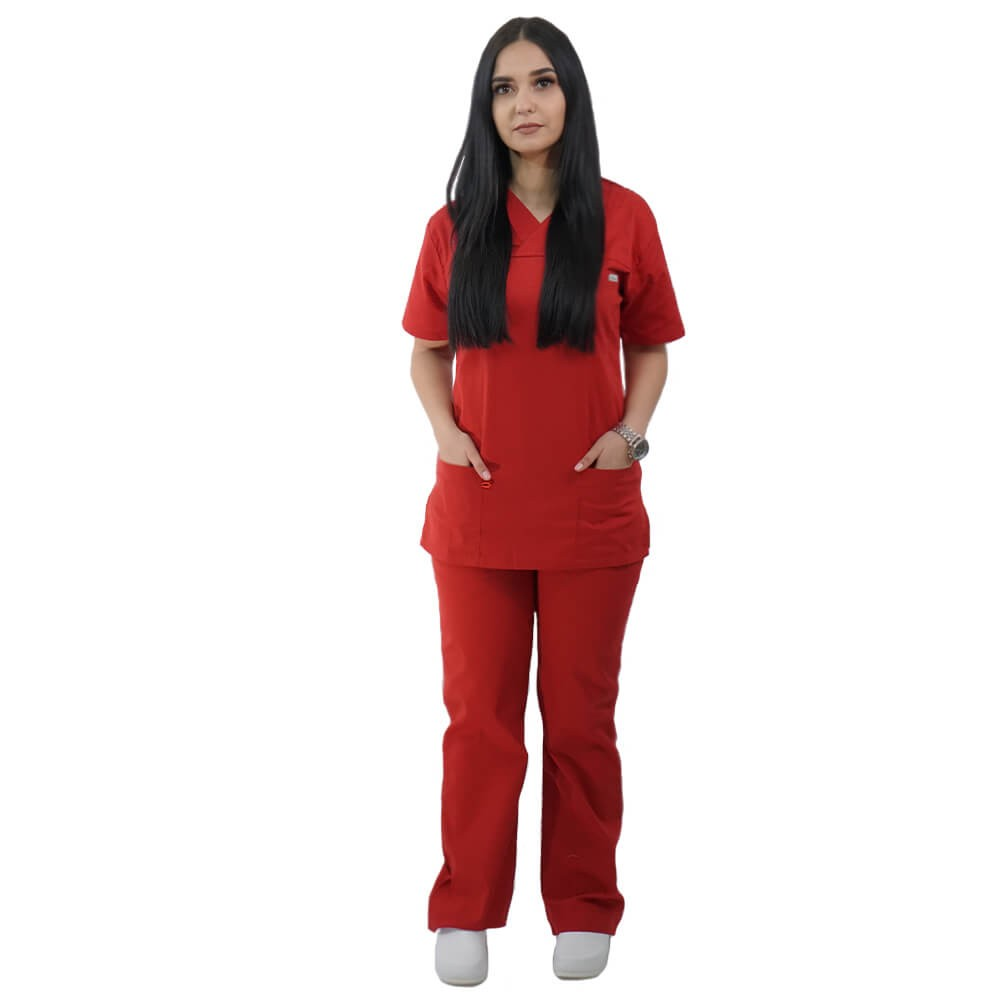 Costum medical Lotus 4, Basic 1, unisex, rosu