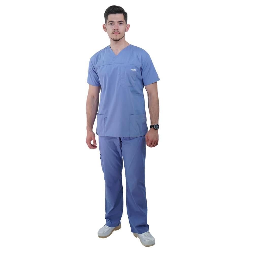 Costum medical Lotus 4, Basic 1, unisex, albastru ciel