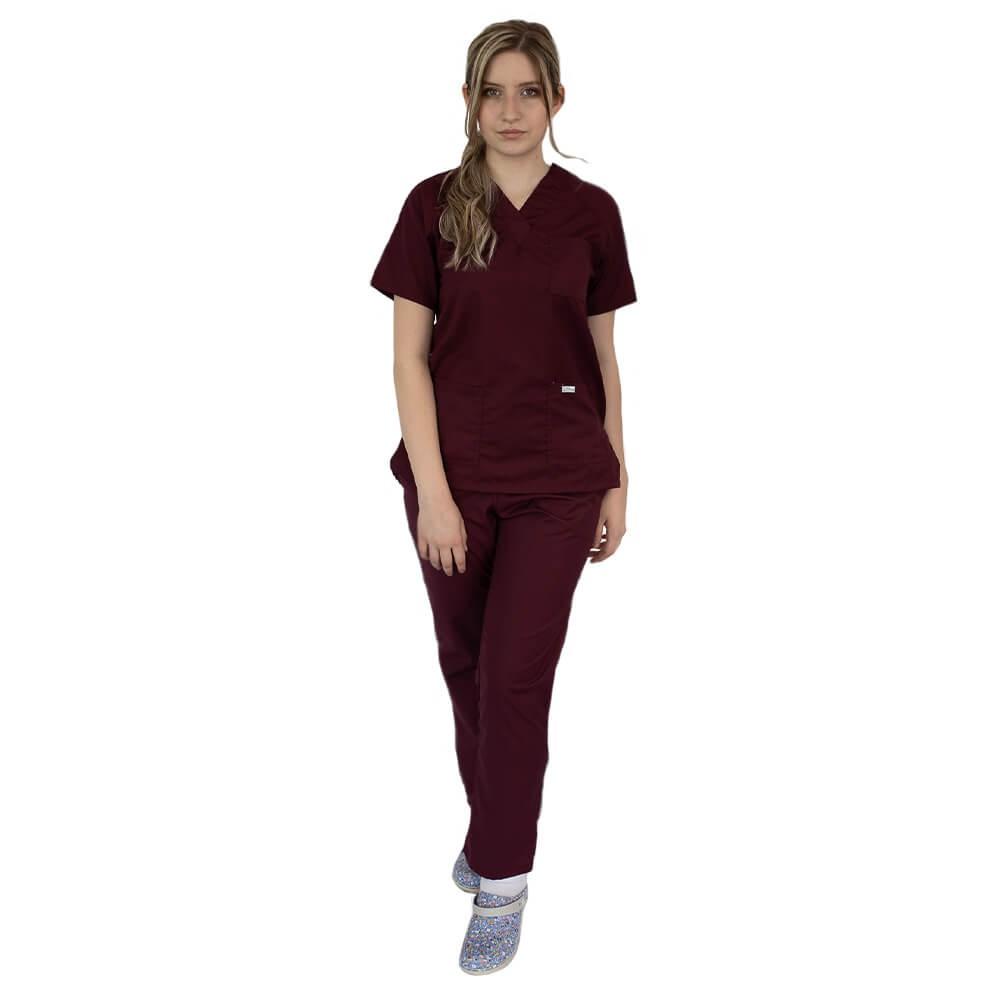 Costum medical uniex Lotus 4, Basic 2, visiniu