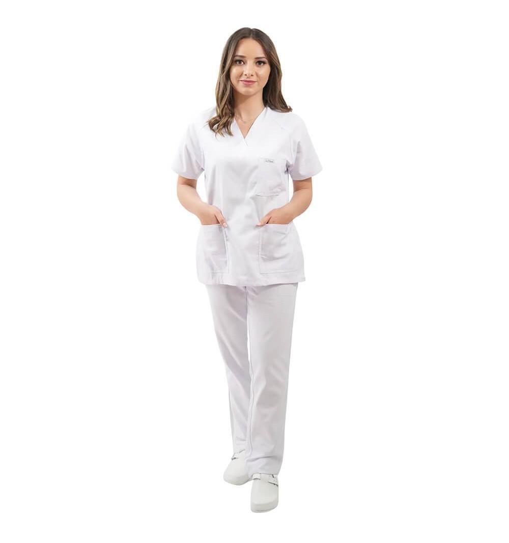Costum medical uniex Lotus 4, Basic 2, alb