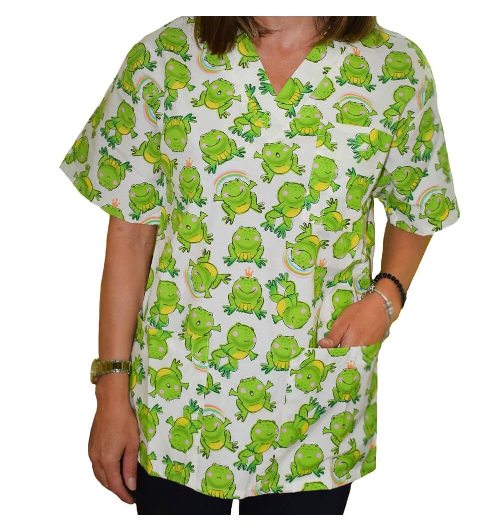 Bluza medicala imprimata Lotus 1, Frog Print