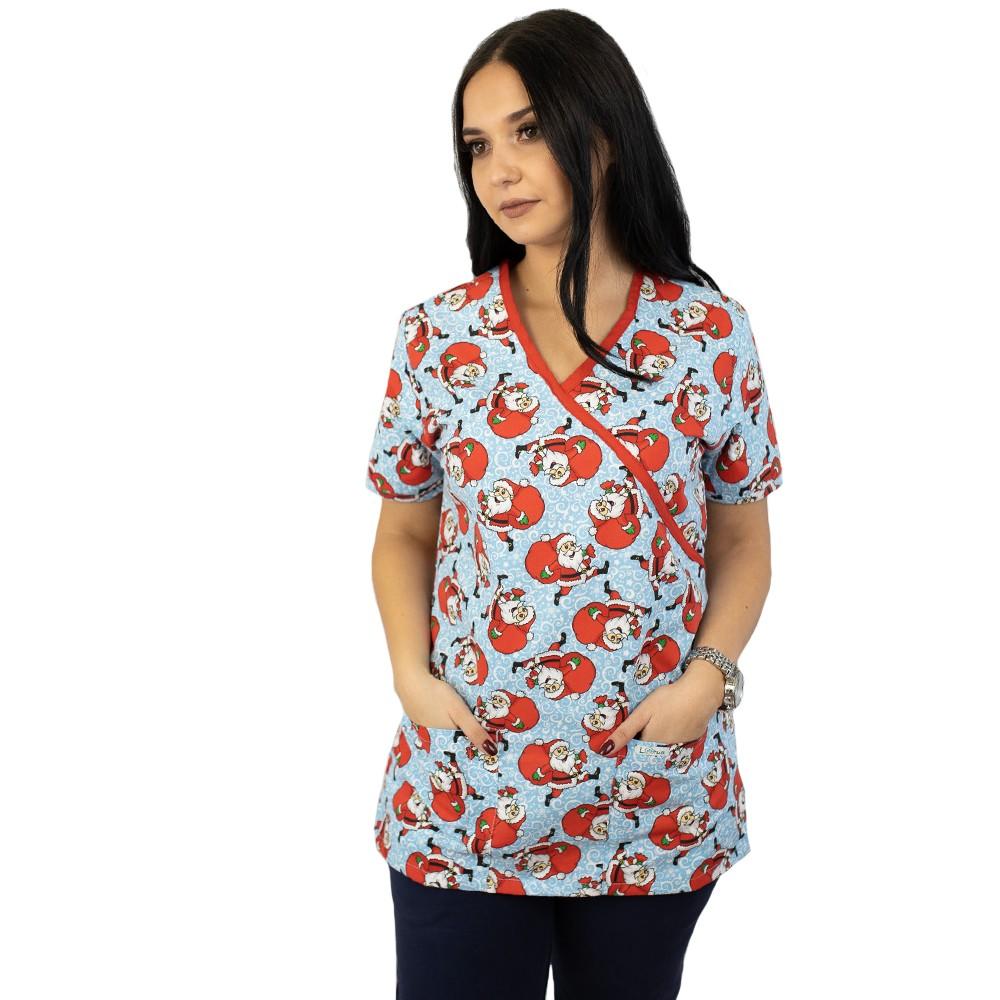 Bluza medicala imprimata Lotus 1, editie speciala de Craciun, Dancing Santa