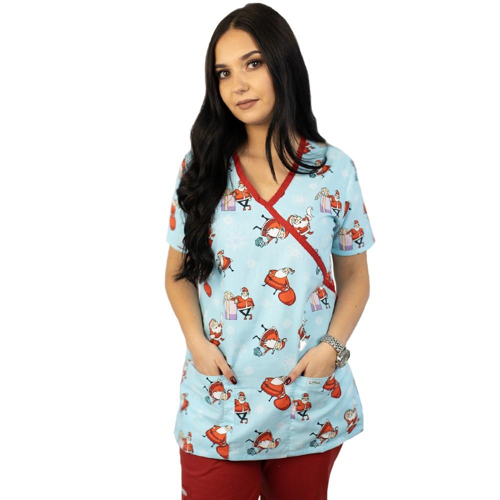 Bluza medicala imprimata Lotus 1, editie speciala de Craciun, Blue Christmas