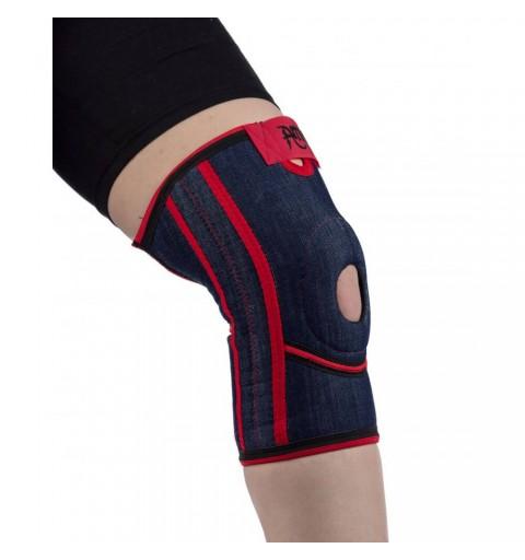 Orteza scurta de genunchi cu suport pentru rotula si ligamente, din jeans - ARJ2102