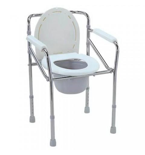 Scaun cu WC de camera, inaltime reglabila, din otel, pliabil - CMB-894