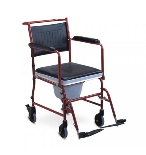 Scaun toaleta cu roti si maner rabatabil in jos - FS692