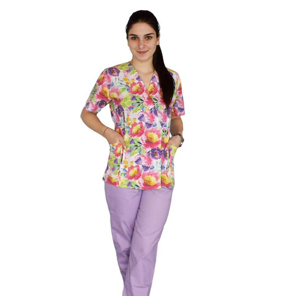 Bluza kimono imprimata, Lotus 1, Pastel