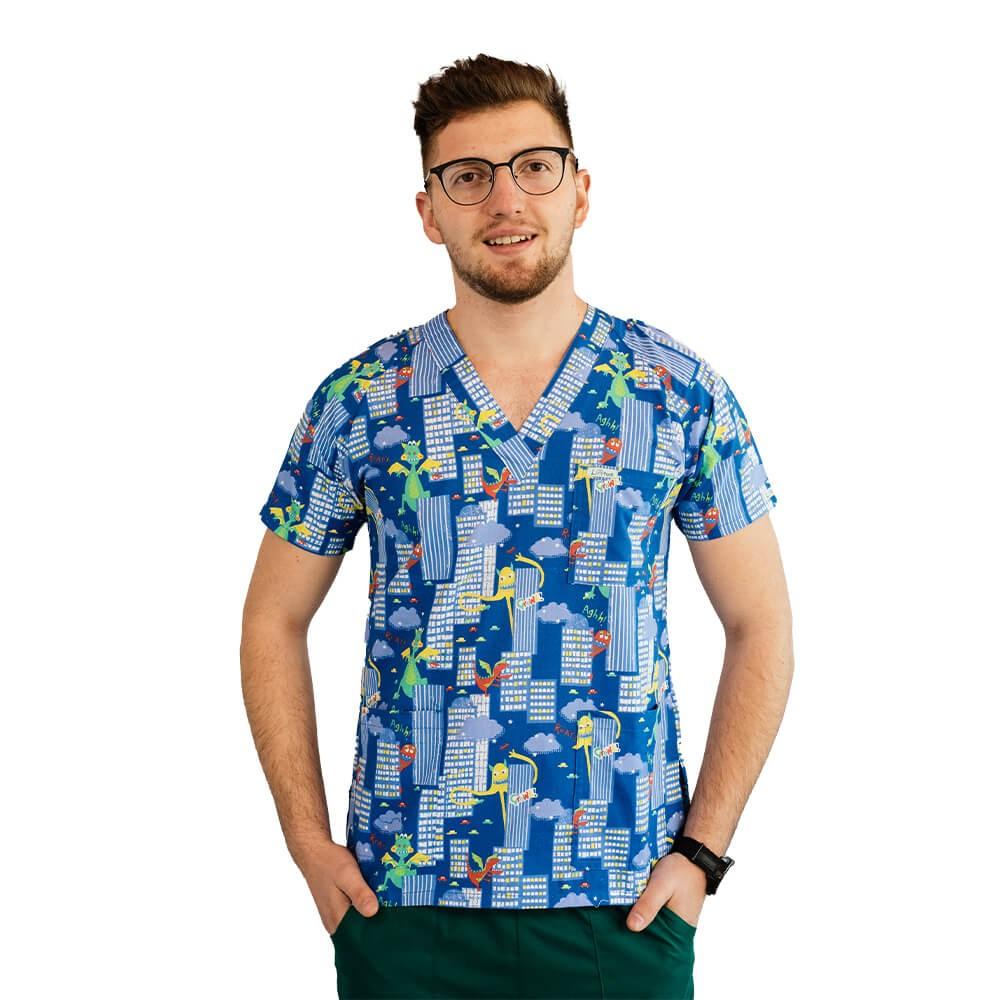 Bluza medicala imprimata Lotus 1, cu buzunar, Dino City