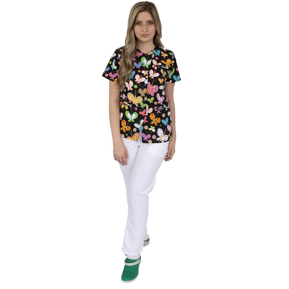 Bluza imprimata asimetrica, cu capse, Lotus 1, Dark Butterfly