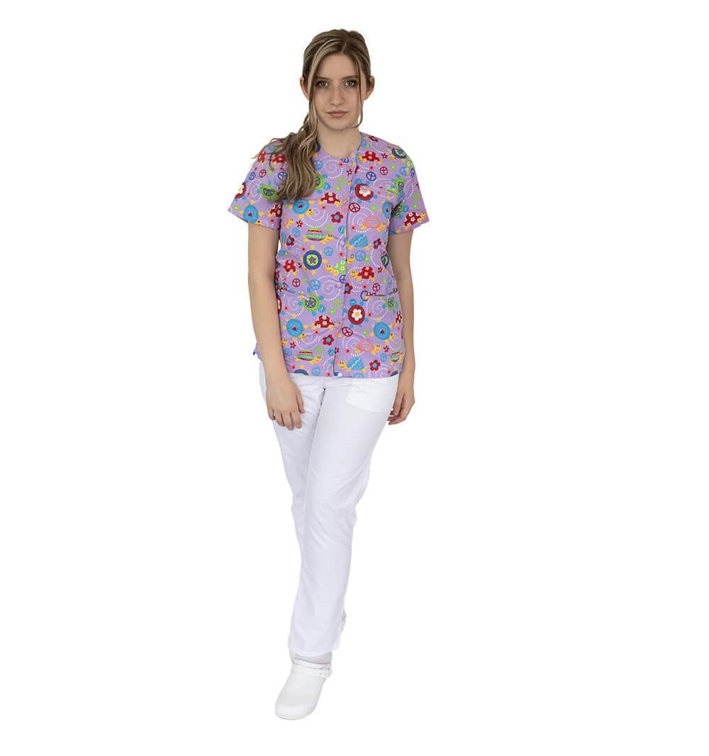 Bluza imprimata asimetrica, cu capse, Lotus 1, Pink Turtle