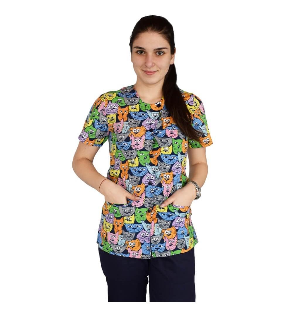 Bluza imprimata asimetrica, cu capse, Lotus 1, Tomcat