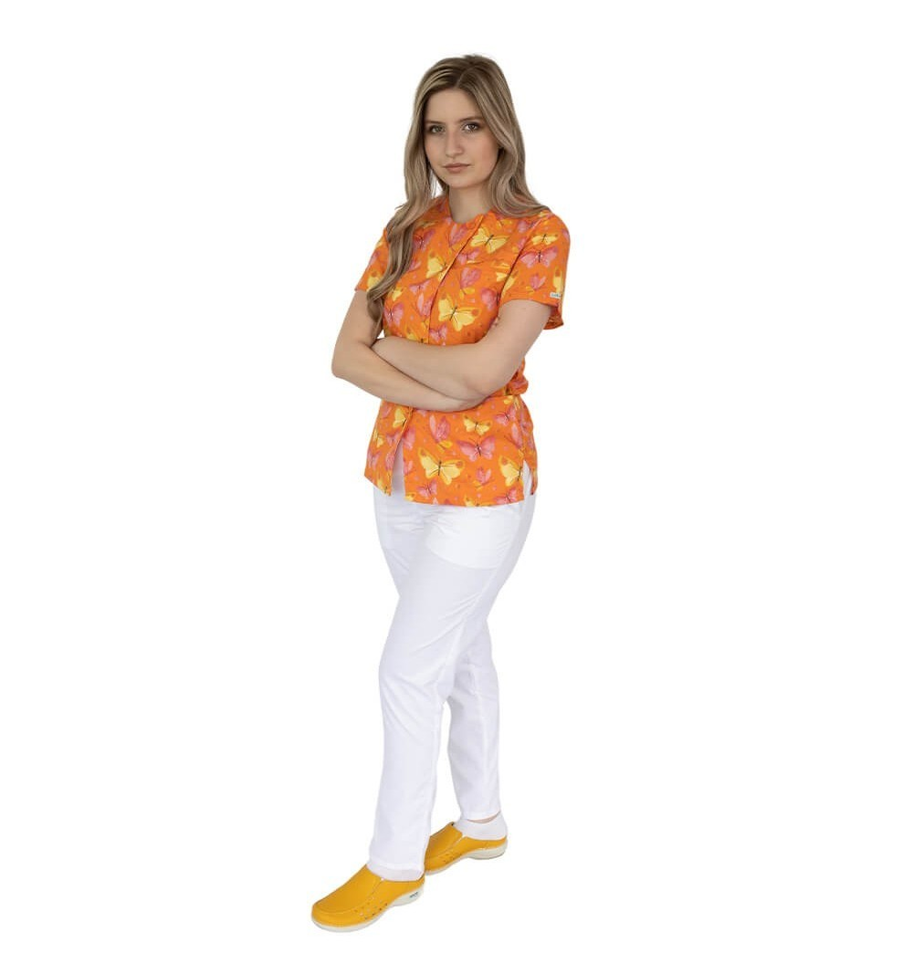 Bluza imprimata asimetrica, cu capse, Lotus 1, Orange Butterfly