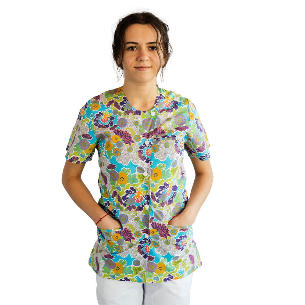 Bluza imprimata asimetrica, cu capse, Lotus 1, Mazy Flower