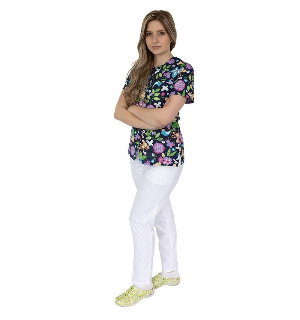 Bluza imprimata asimetrica, cu capse, Lotus 1, Monkey Flower