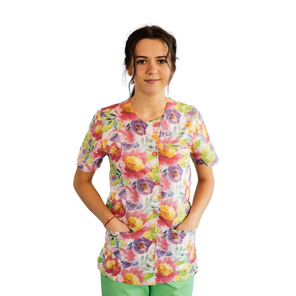 Bluza imprimata asimetrica, cu capse, Lotus 1, Pastel