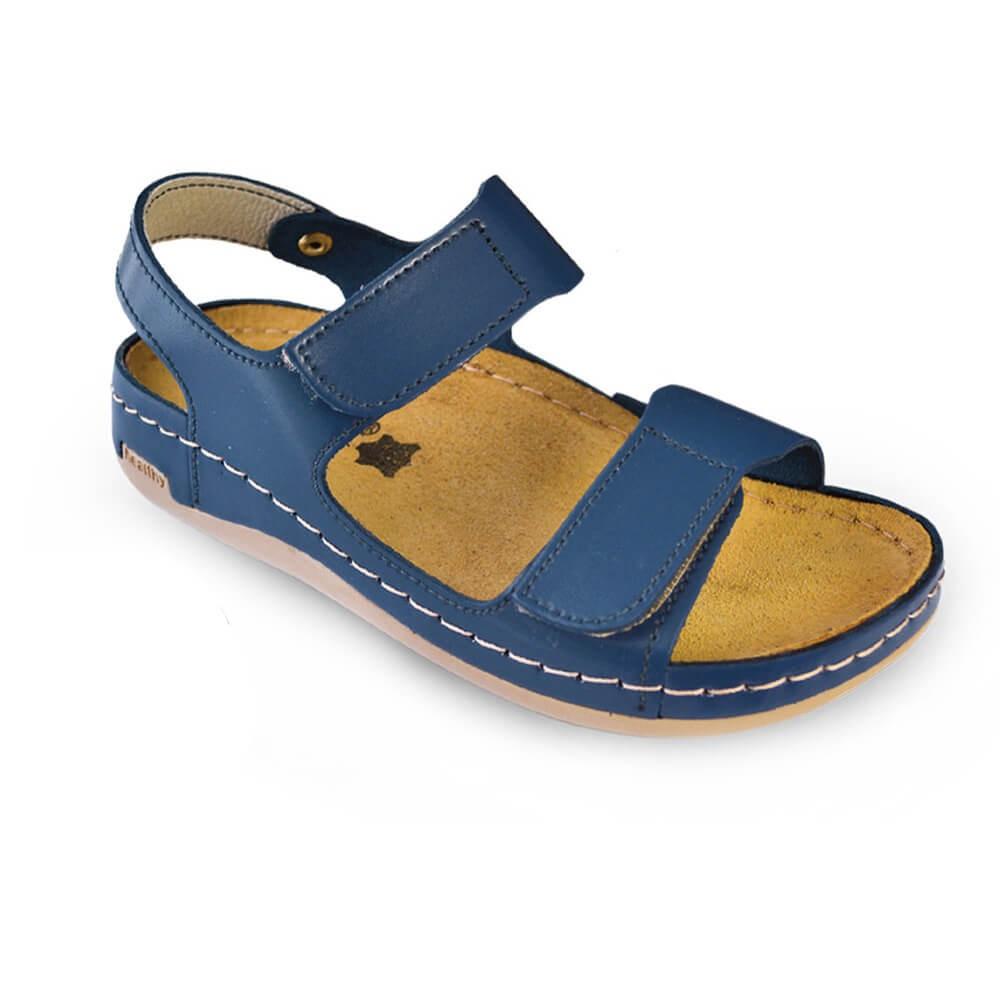Sandale dama, de vara, din piele, Leon 803, albastru inchis