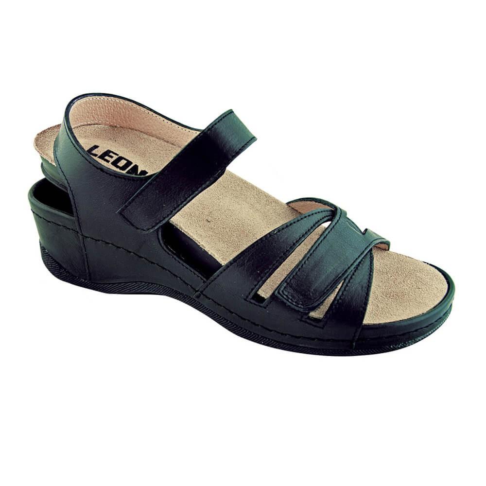 Sandale dama, de vara, din piele, Leon 2021, negru