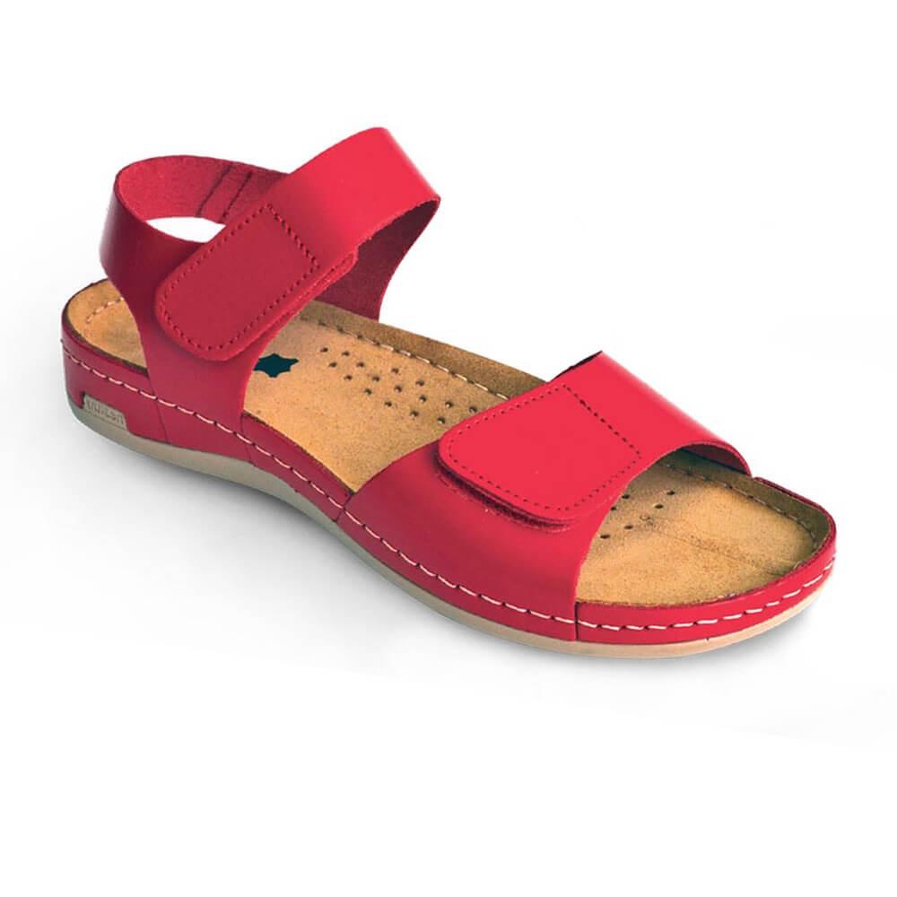 Sandale dama, de vara, din piele, Leon 963, rosu