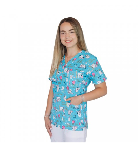 Bluza medicala imprimata, bumbac si elastan, Twice a day
