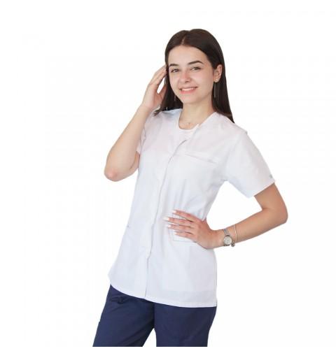 Bluza asimetrica cu capse Lotus 2, alb