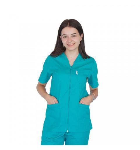 Bluza in V cu fermoar si maneca scurta, Lotus 2, verde chirurgical