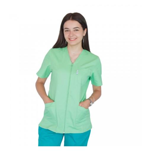 Bluza in V cu fermoar si maneca scurta, Lotus 2, verde island