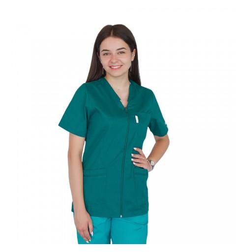 Bluza in V cu fermoar si maneca scurta, Lotus 2, verde hunter
