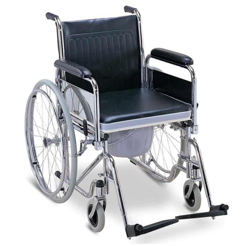 Carucior/scaun WC din otel cromat cu roti - FS681