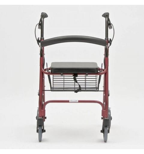 Rolator pliabil cu 4 roti, frana, scaun si cos, din otel - FS966LH