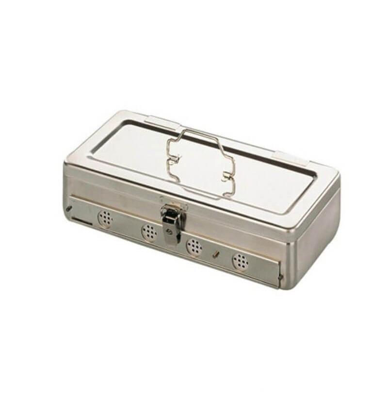 Cutie sterilizare cu orificii laterale si sistem de inchidere