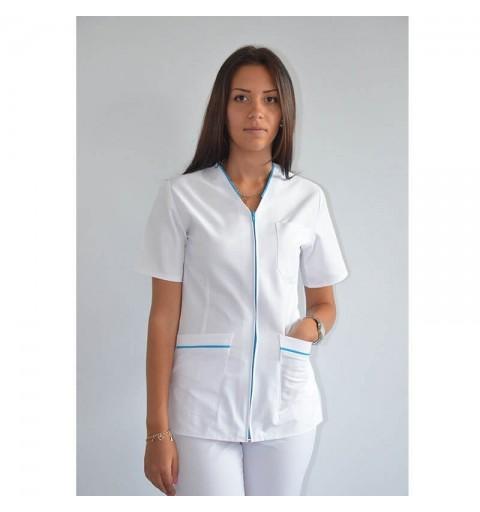 Bluza in V cu fermoar si maneca scurta - CM03