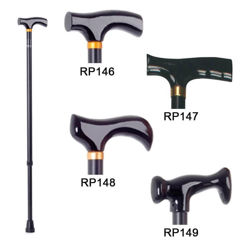Baston reglabil din aluminiu, maner lemn/plastic diferite forme - RP148