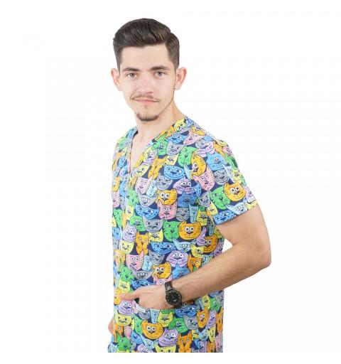 Bluza medicala imprimata Lotus, Tomcat
