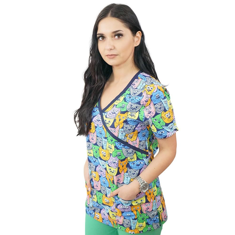 Bluza medicala imprimata Lotus 2, Tomcat