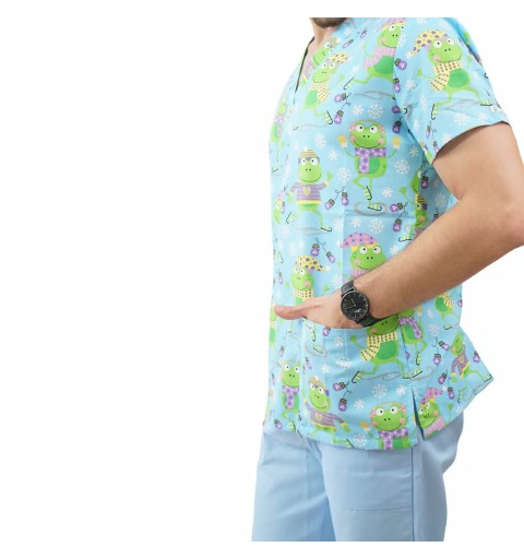 Bluza medicala imprimata Lotus, Flurry Frog