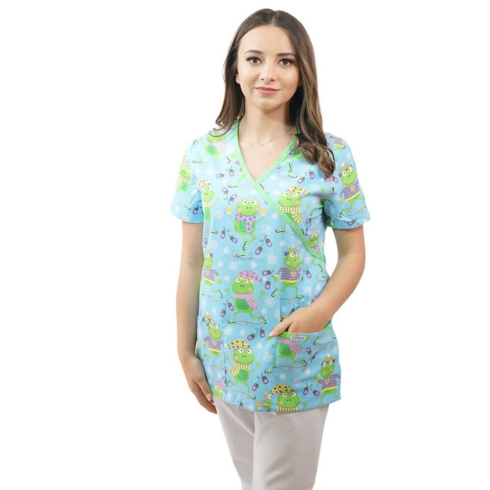 Bluza medicala imprimata Lotus 2, Flurry Frog