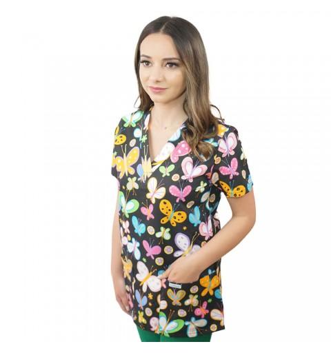Bluza medicala imprimata Lotus 2, Dark Butterfly