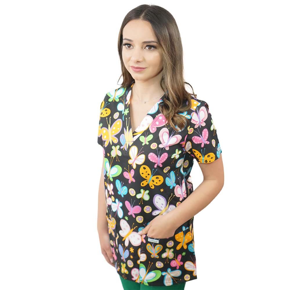 Bluza medicala imprimata Lotus 1, Dark Butterfly