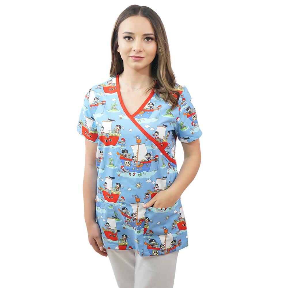 Bluza medicala imprimata Lotus 1, Pirate