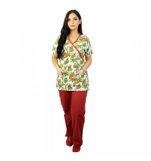 Bluza medicala imprimata, editie speciala de Craciun, Christmas Jungle